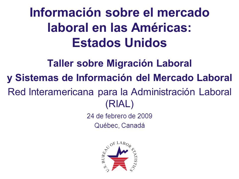 2 La información sobre el mercado laboral en Estados Unidos Estructura organizacional descentralizada Tipos de información sobre el mercado laboral Principales usos y usuarios Principales formas de producción de datos Enfoques hacia los análisis y la divulgación Principales desafíos