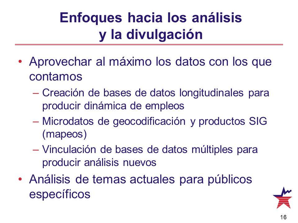 16 Enfoques hacia los análisis y la divulgación Aprovechar al máximo los datos con los que contamos –Creación de bases de datos longitudinales para pr