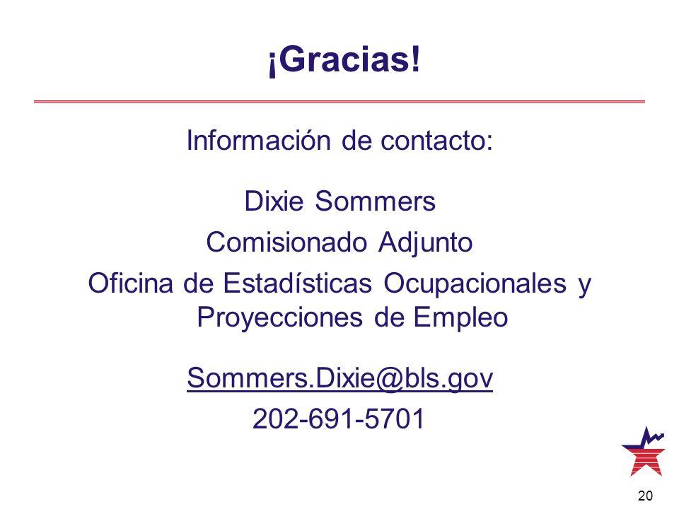 20 ¡Gracias! Información de contacto: Dixie Sommers Comisionado Adjunto Oficina de Estadísticas Ocupacionales y Proyecciones de Empleo Sommers.Dixie@b