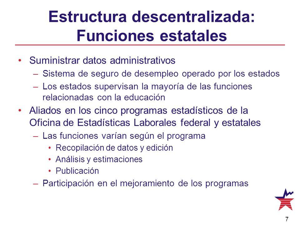 8 Análisis, divulgación, apoyo a los usuarios de los datos Encuestas y proyectos especiales Estructura descentralizada: Funciones estatales