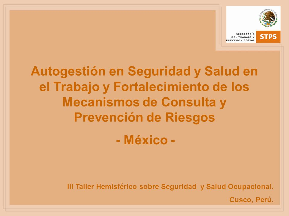 III Taller Hemisférico sobre Seguridad y Salud Ocupacional. Cusco, Perú. Autogestión en Seguridad y Salud en el Trabajo y Fortalecimiento de los Mecan