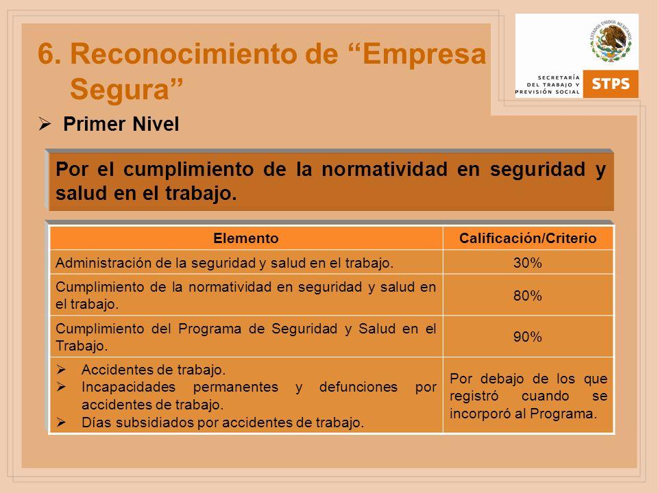 Por el cumplimiento de la normatividad en seguridad y salud en el trabajo. 6. Reconocimiento de Empresa Segura ElementoCalificación/Criterio Administr