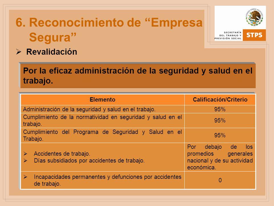 Por la eficaz administración de la seguridad y salud en el trabajo. ElementoCalificación/Criterio Administración de la seguridad y salud en el trabajo