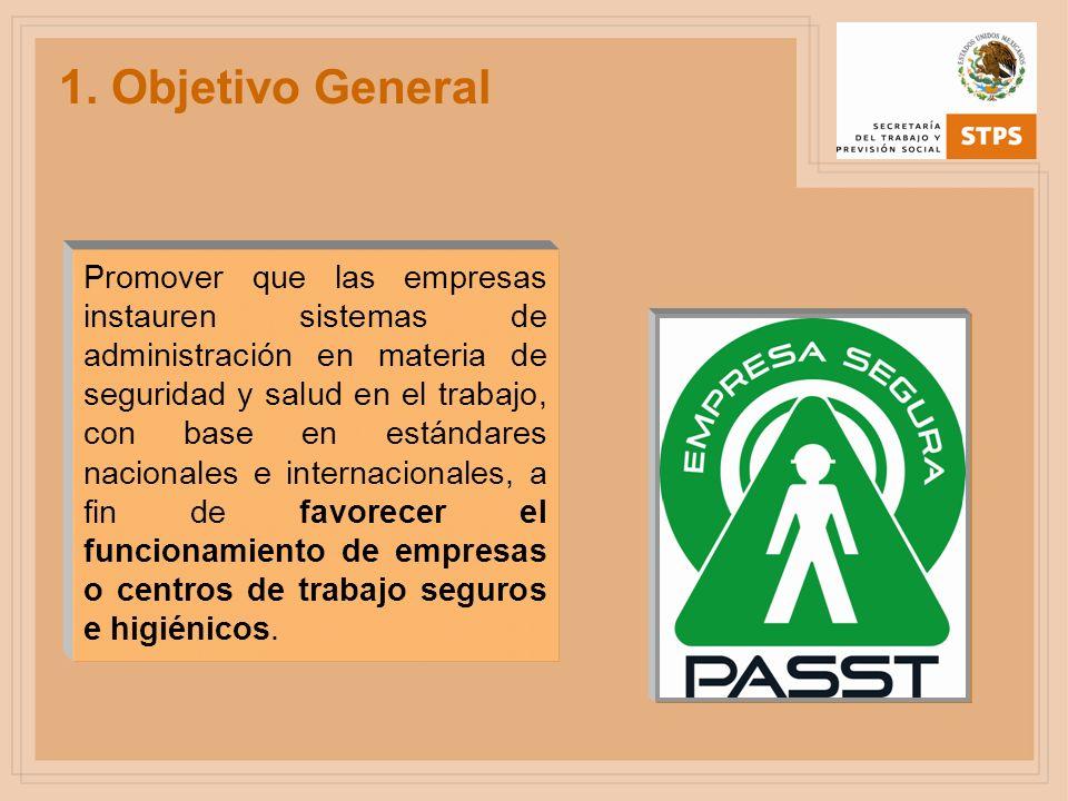 1. Objetivo General Promover que las empresas instauren sistemas de administración en materia de seguridad y salud en el trabajo, con base en estándar