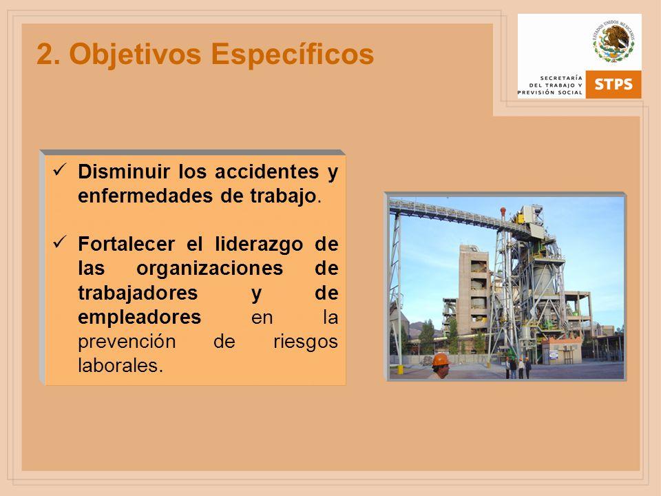 2. Objetivos Específicos Disminuir los accidentes y enfermedades de trabajo. Fortalecer el liderazgo de las organizaciones de trabajadores y de emplea