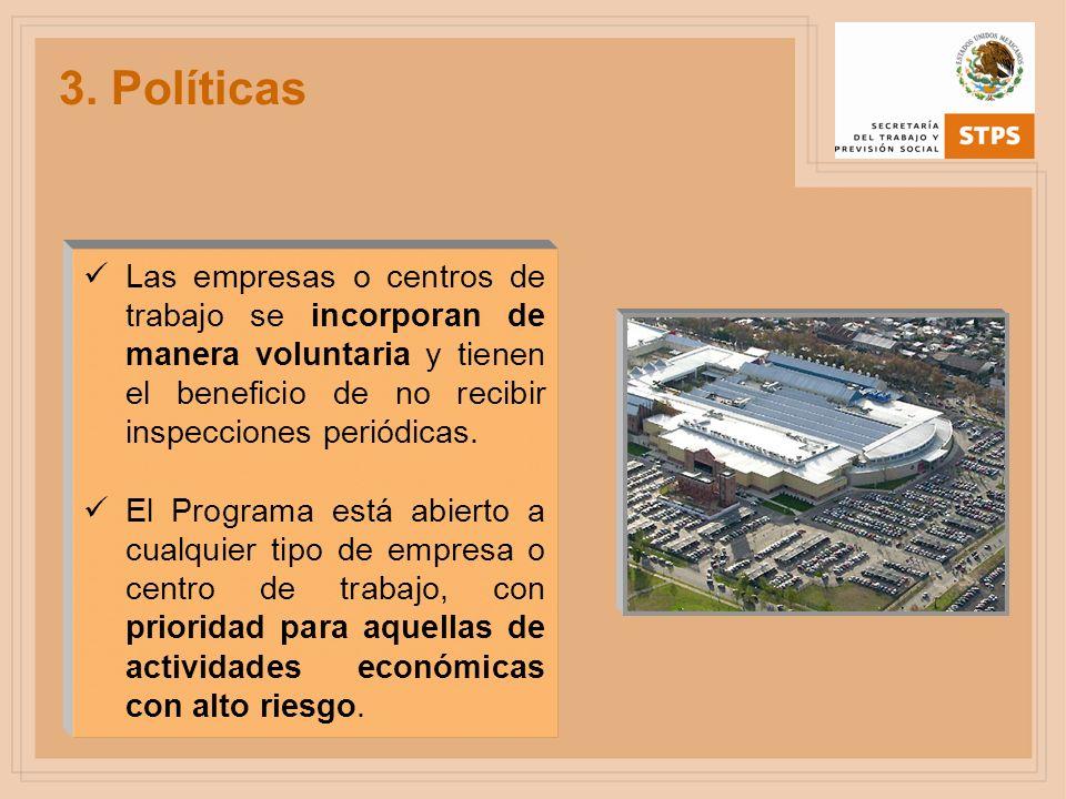 3. Políticas Las empresas o centros de trabajo se incorporan de manera voluntaria y tienen el beneficio de no recibir inspecciones periódicas. El Prog