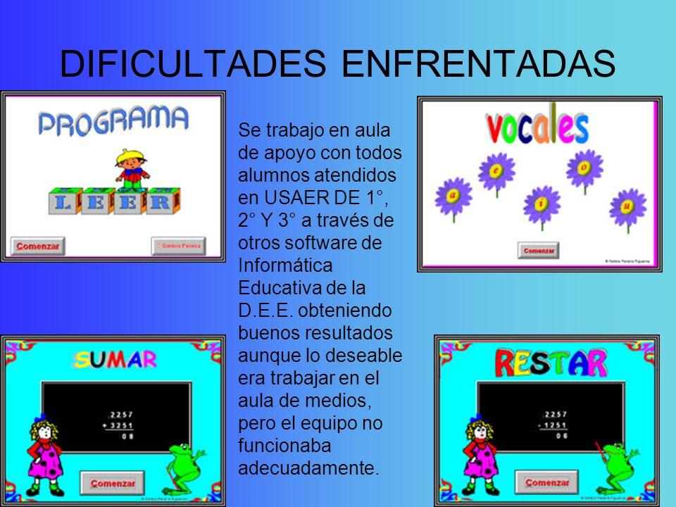 DIFICULTADES ENFRENTADAS Se trabajo en aula de apoyo con todos alumnos atendidos en USAER DE 1°, 2° Y 3° a través de otros software de Informática Edu