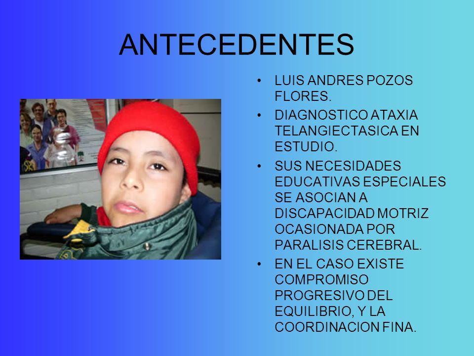 ANTECEDENTES LUIS ANDRES POZOS FLORES. DIAGNOSTICO ATAXIA TELANGIECTASICA EN ESTUDIO. SUS NECESIDADES EDUCATIVAS ESPECIALES SE ASOCIAN A DISCAPACIDAD