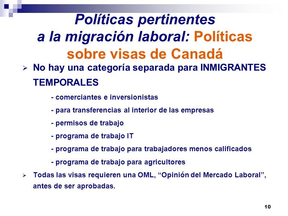 10 Políticas pertinentes a la migración laboral: Políticas sobre visas de Canadá No hay una categoría separada para INMIGRANTES TEMPORALES - comercian