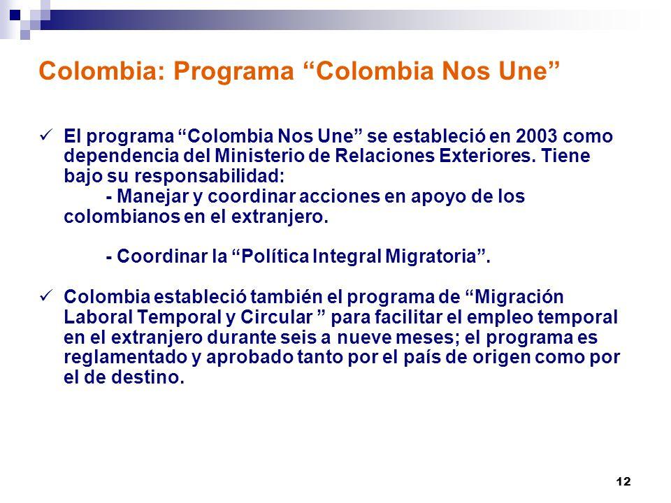 12 Colombia: Programa Colombia Nos Une El programa Colombia Nos Une se estableció en 2003 como dependencia del Ministerio de Relaciones Exteriores.