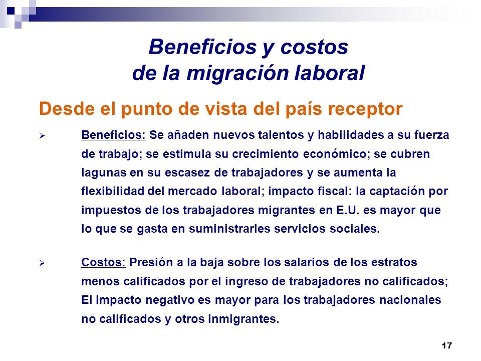 17 Beneficios y costos de la migración laboral Desde el punto de vista del país receptor Beneficios: Se añaden nuevos talentos y habilidades a su fuer