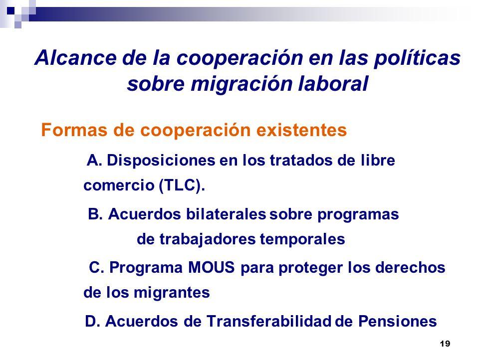 19 Alcance de la cooperación en las políticas sobre migración laboral Formas de cooperación existentes A. Disposiciones en los tratados de libre comer