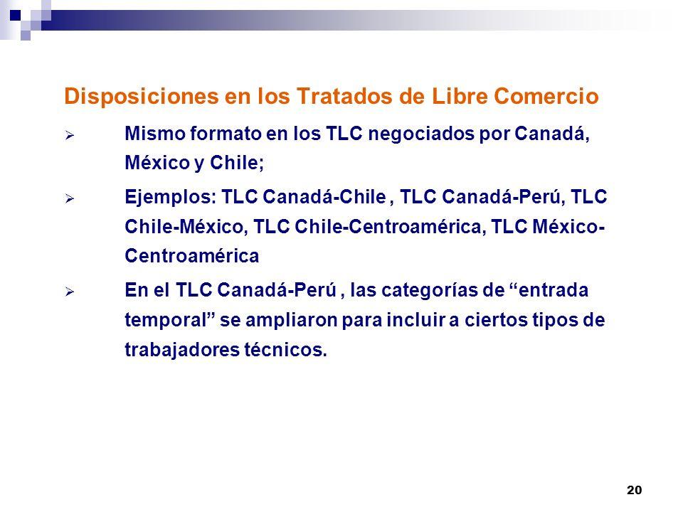 20 Disposiciones en los Tratados de Libre Comercio Mismo formato en los TLC negociados por Canadá, México y Chile; Ejemplos: TLC Canadá-Chile, TLC Can