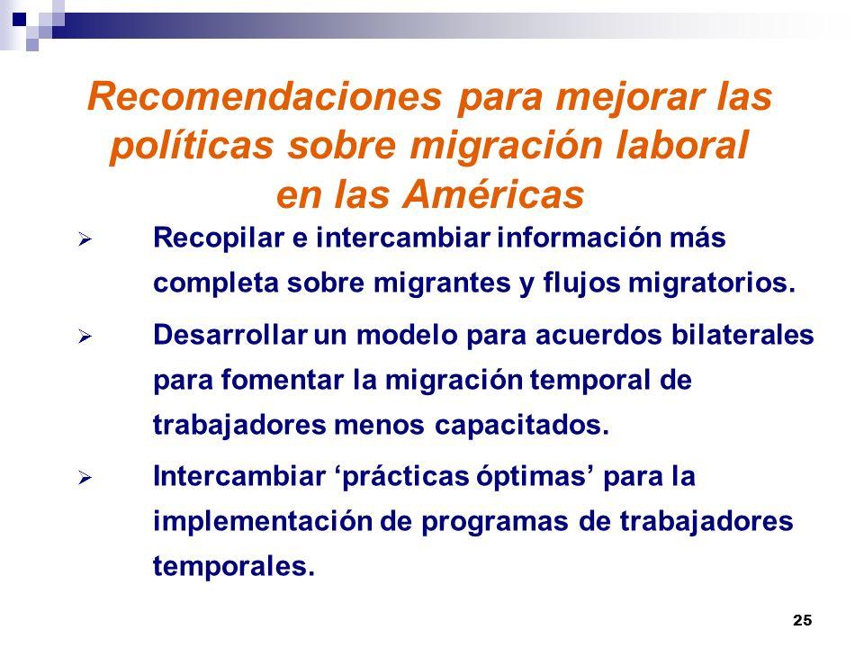 25 Recomendaciones para mejorar las políticas sobre migración laboral en las Américas Recopilar e intercambiar información más completa sobre migrantes y flujos migratorios.