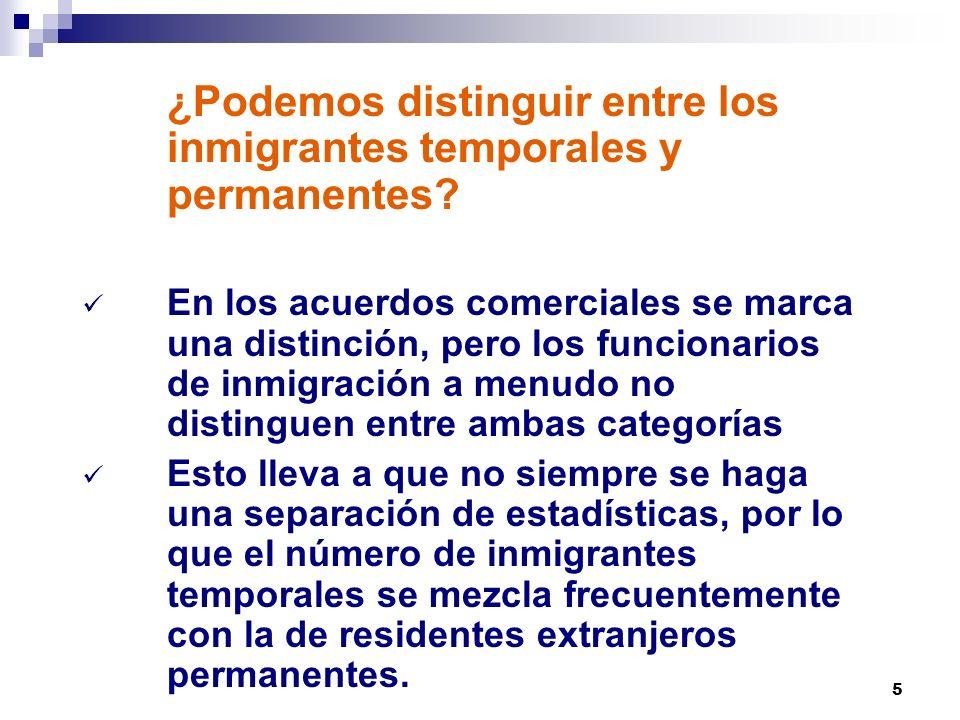 5 ¿Podemos distinguir entre los inmigrantes temporales y permanentes? En los acuerdos comerciales se marca una distinción, pero los funcionarios de in