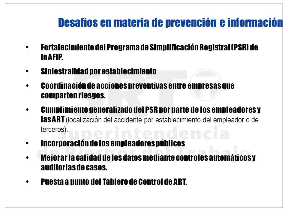 Desafíos en materia de prevención e información Fortalecimiento del Programa de Simplificación Registral (PSR) de la AFIP. Siniestralidad por establec