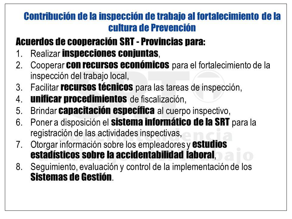 Acuerdos de cooperación SRT - Provincias para: 1. Realizar inspecciones conjuntas, 2. Cooperar con recursos económicos para el fortalecimiento de la i