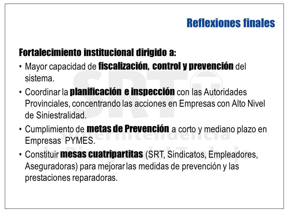 Fortalecimiento institucional dirigido a: Mayor capacidad de fiscalización, control y prevención del sistema. Coordinar la planificación e inspección