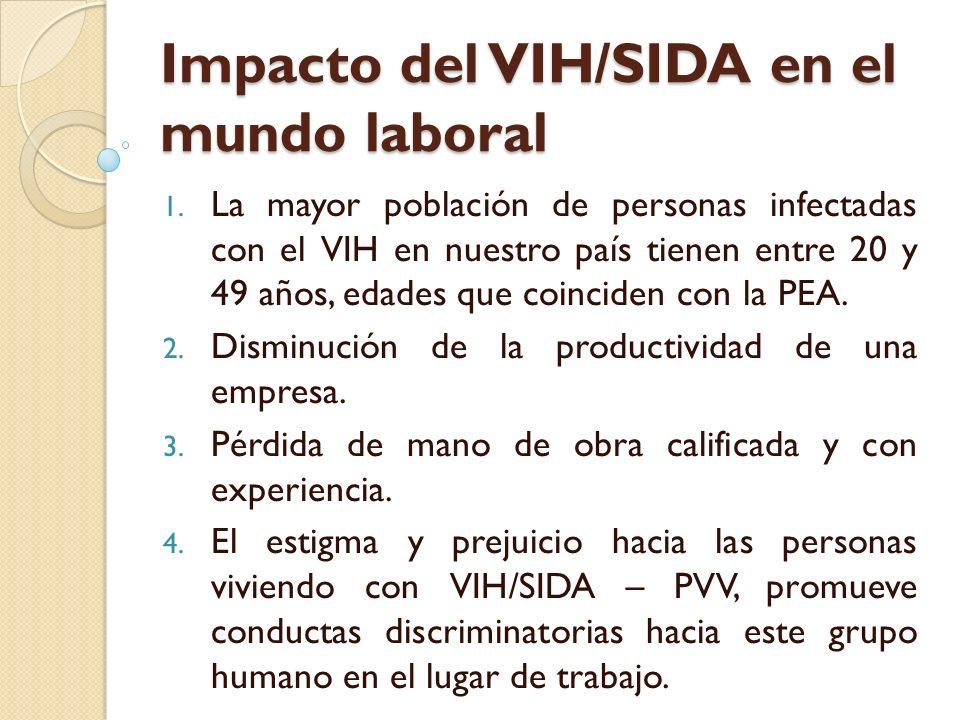 Impacto del VIH/SIDA en el mundo laboral 1. La mayor población de personas infectadas con el VIH en nuestro país tienen entre 20 y 49 años, edades que