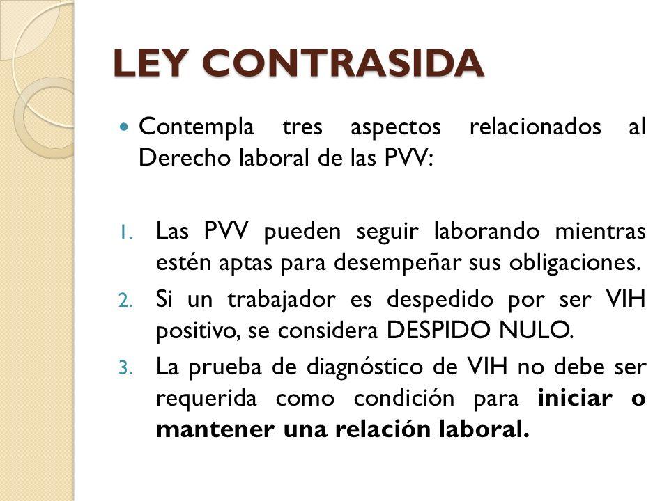 LEY CONTRASIDA Contempla tres aspectos relacionados al Derecho laboral de las PVV: 1. Las PVV pueden seguir laborando mientras estén aptas para desemp