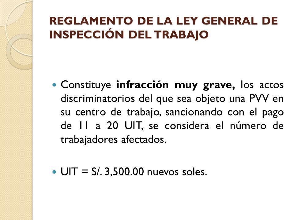 REGLAMENTO DE LA LEY GENERAL DE INSPECCIÓN DEL TRABAJO Constituye infracción muy grave, los actos discriminatorios del que sea objeto una PVV en su ce