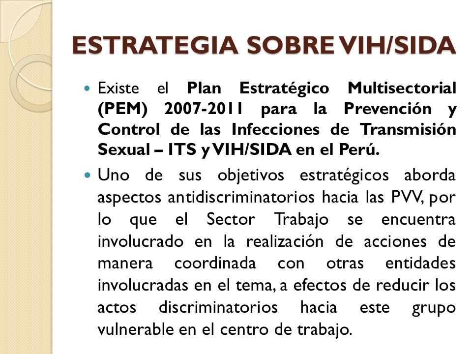 ESTRATEGIA SOBRE VIH/SIDA Existe el Plan Estratégico Multisectorial (PEM) 2007-2011 para la Prevención y Control de las Infecciones de Transmisión Sex