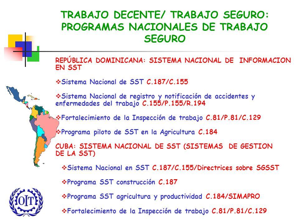 TRABAJO DECENTE/ TRABAJO SEGURO: PROGRAMAS NACIONALES DE TRABAJO SEGURO REPÚBLICA DOMINICANA: SISTEMA NACIONAL DE INFORMACION EN SST Sistema Nacional