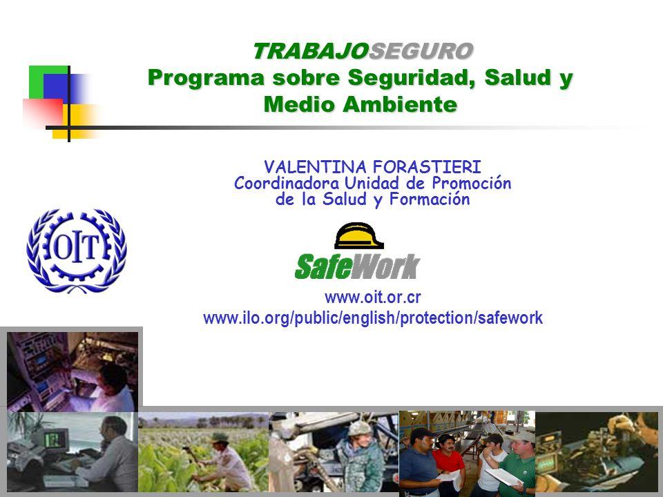 VALENTINA FORASTIERI Coordinadora Unidad de Promoción de la Salud y Formación www.oit.or.cr www.ilo.org/public/english/protection/safework TRABAJOSEGU