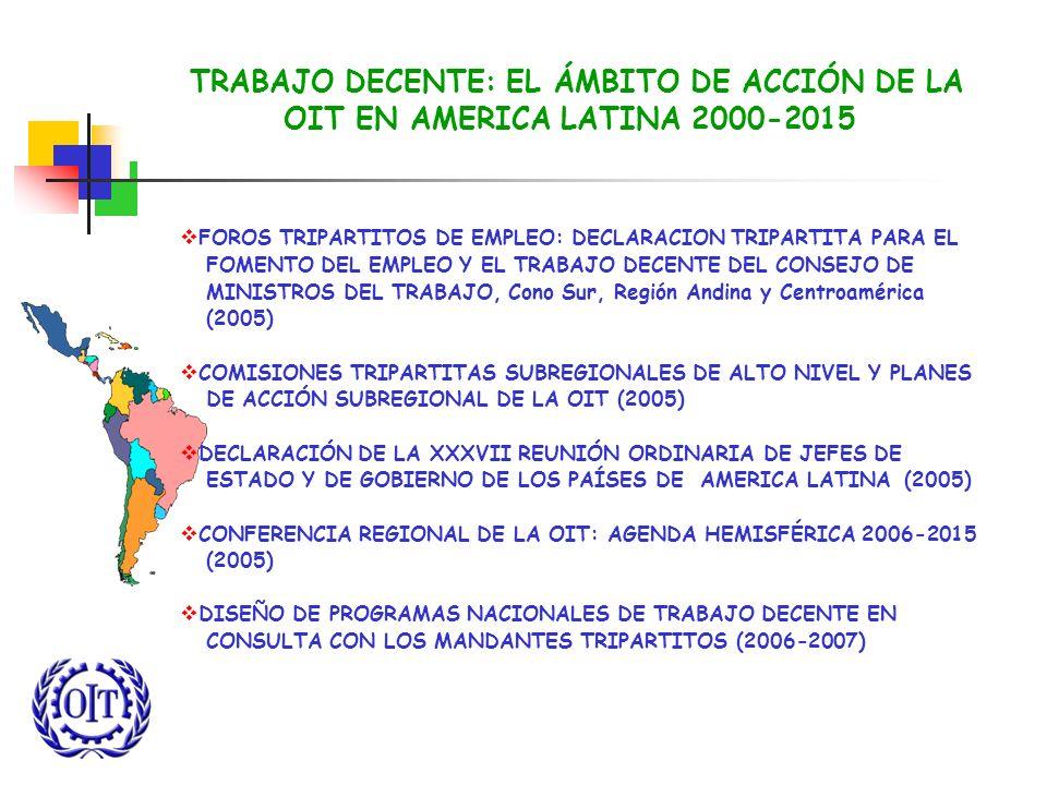 TRABAJO DECENTE: EL ÁMBITO DE ACCIÓN DE LA OIT EN AMERICA LATINA 2000-2015 FOROS TRIPARTITOS DE EMPLEO: DECLARACION TRIPARTITA PARA EL FOMENTO DEL EMP