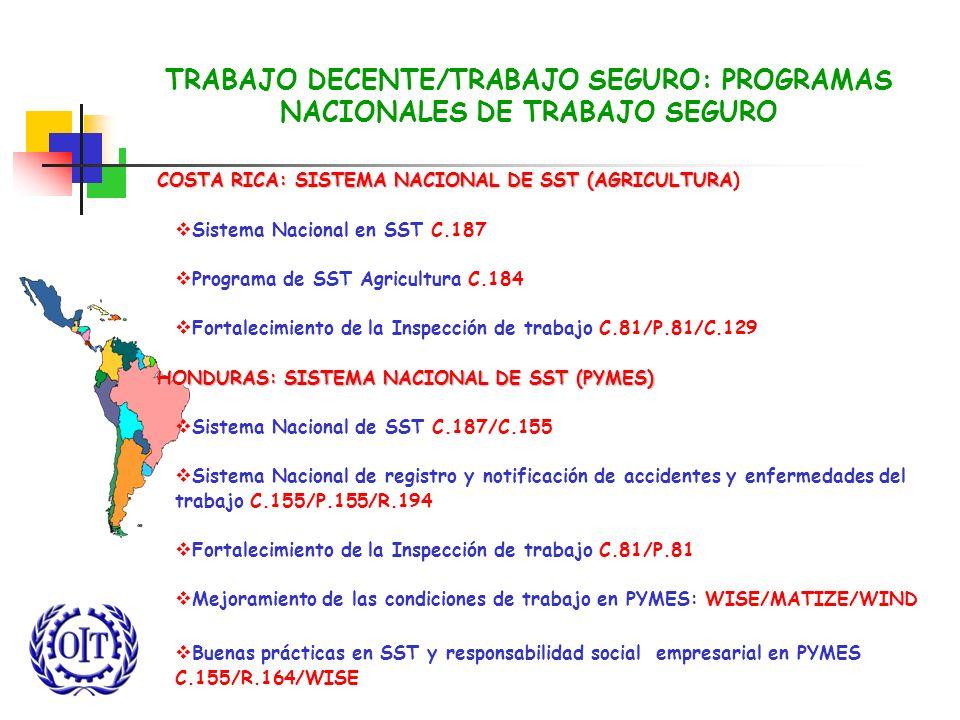 TRABAJO DECENTE/TRABAJO SEGURO: PROGRAMAS NACIONALES DE TRABAJO SEGURO COSTA RICA: SISTEMA NACIONAL DE SST (AGRICULTURA COSTA RICA: SISTEMA NACIONAL D