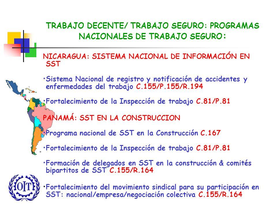 TRABAJO DECENTE/ TRABAJO SEGURO: PROGRAMAS NACIONALES DE TRABAJO SEGURO : NICARAGUA: SISTEMA NACIONAL DE INFORMACIÓN EN SST Sistema Nacional de regist