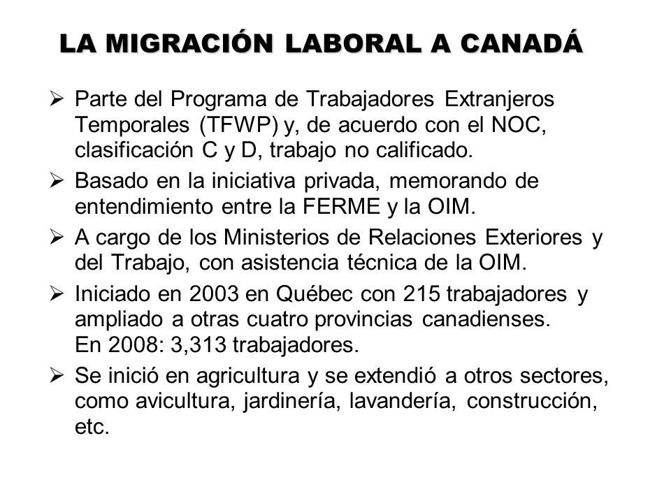 Parte del Programa de Trabajadores Extranjeros Temporales (TFWP) y, de acuerdo con el NOC, clasificación C y D, trabajo no calificado. Basado en la in