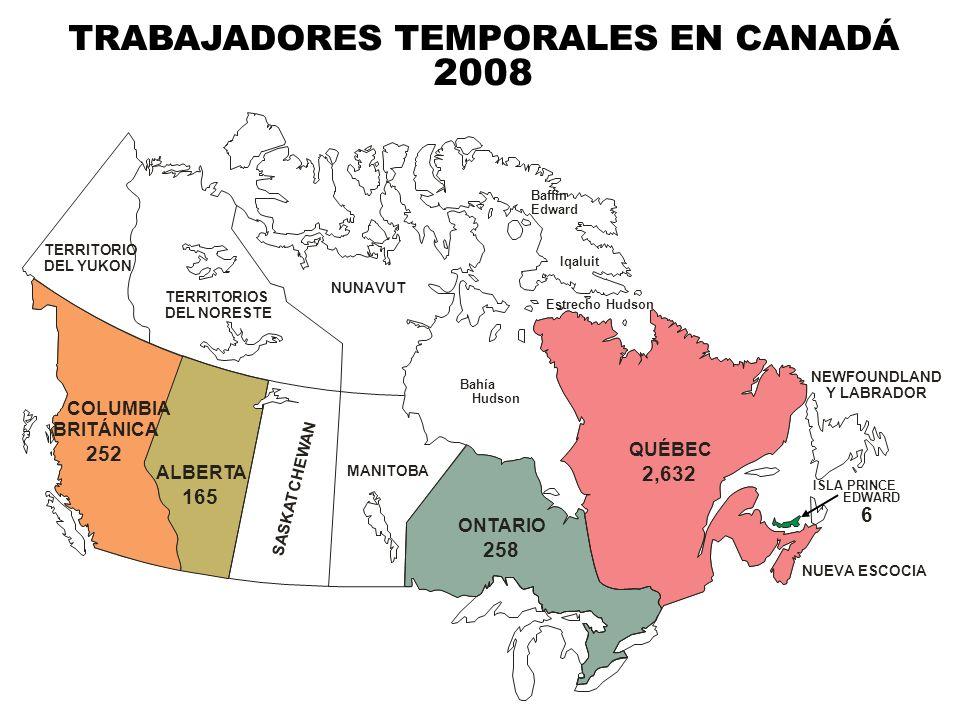 TRABAJADORES TEMPORALES EN CANADÁ 2008 ALBERTA 165 SASKATCHEWAN COLUMBIA BRITÁNICA 252 MANITOBA ONTARIO 258 TERRITORIO DEL YUKON TERRITORIOS DEL NORES