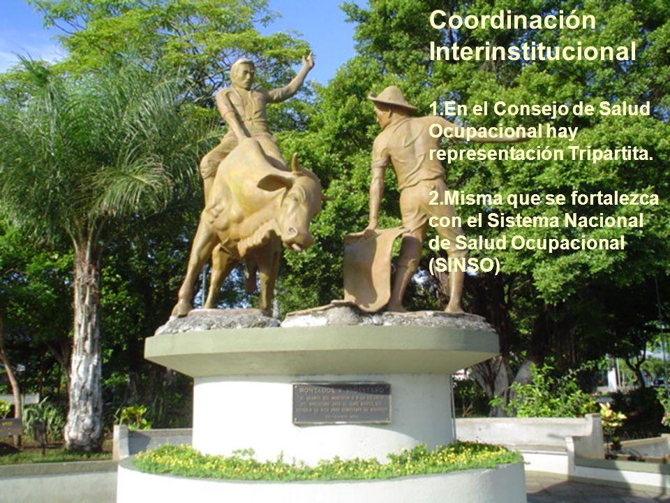 Coordinación Interinstitucional 1.En el Consejo de Salud Ocupacional hay representación Tripartita. 2.Misma que se fortalezca con el Sistema Nacional