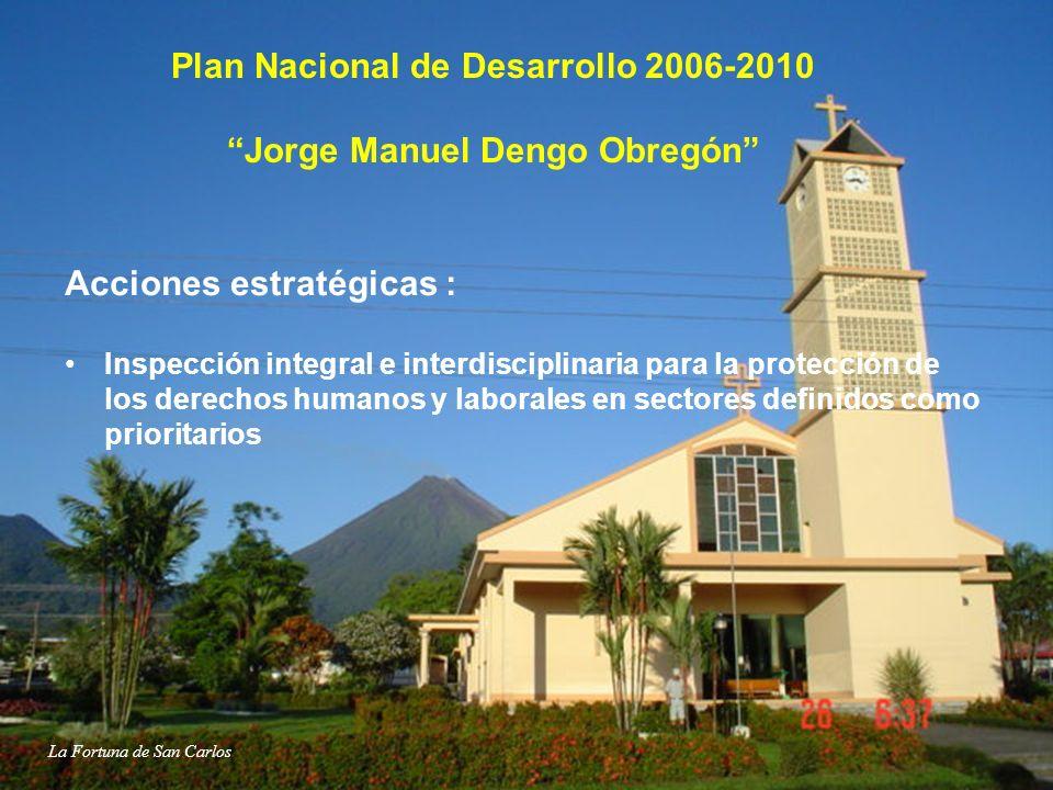 Plan Nacional de Desarrollo 2006-2010 Jorge Manuel Dengo Obregón Acciones estratégicas : Inspección integral e interdisciplinaria para la protección d