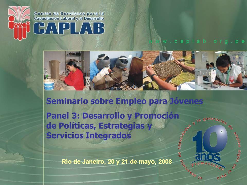 Objetivo Principal del Programa de Capacitación Laboral Promover el empleo y autoempleo para jóvenes, especialmente de los sectores más desfavorecidos de la población mediante el desarrollo de un Programa de Capacitación Laboral articulado a la demanda.