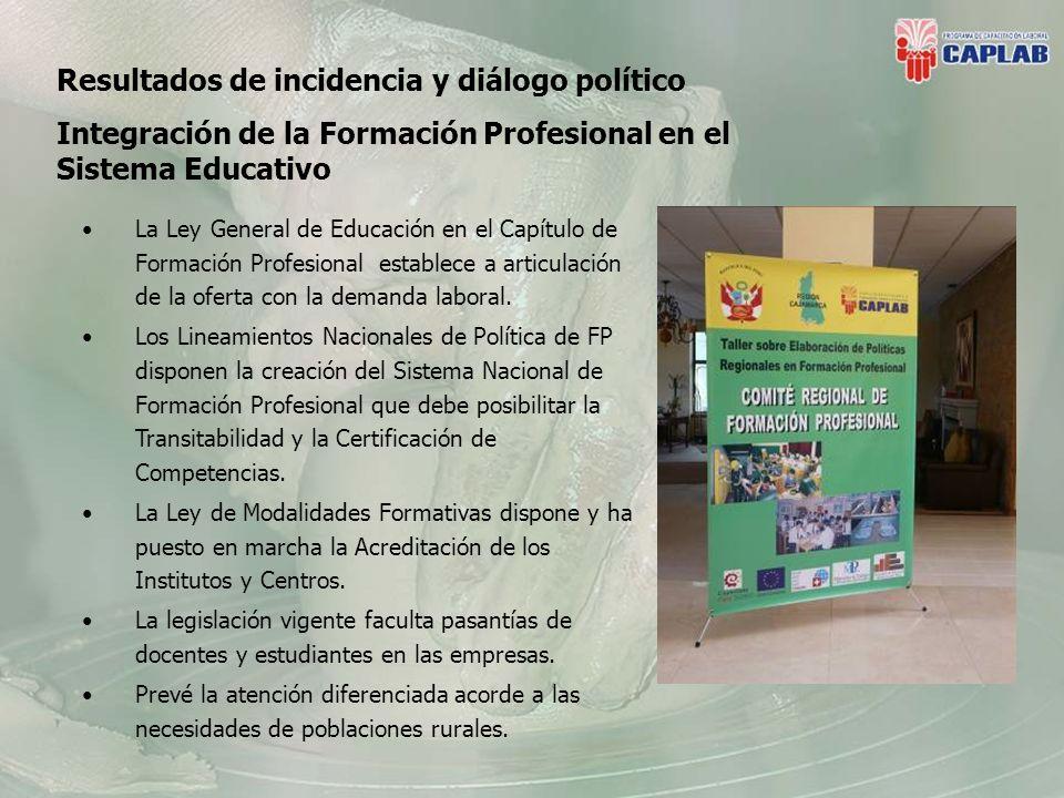Resultados de incidencia y diálogo político Integración de la Formación Profesional en el Sistema Educativo La Ley General de Educación en el Capítulo de Formación Profesional establece a articulación de la oferta con la demanda laboral.