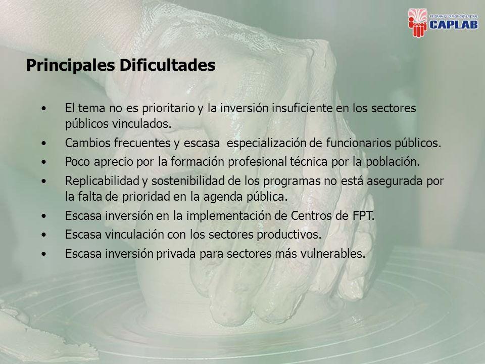 Principales Dificultades El tema no es prioritario y la inversión insuficiente en los sectores públicos vinculados.