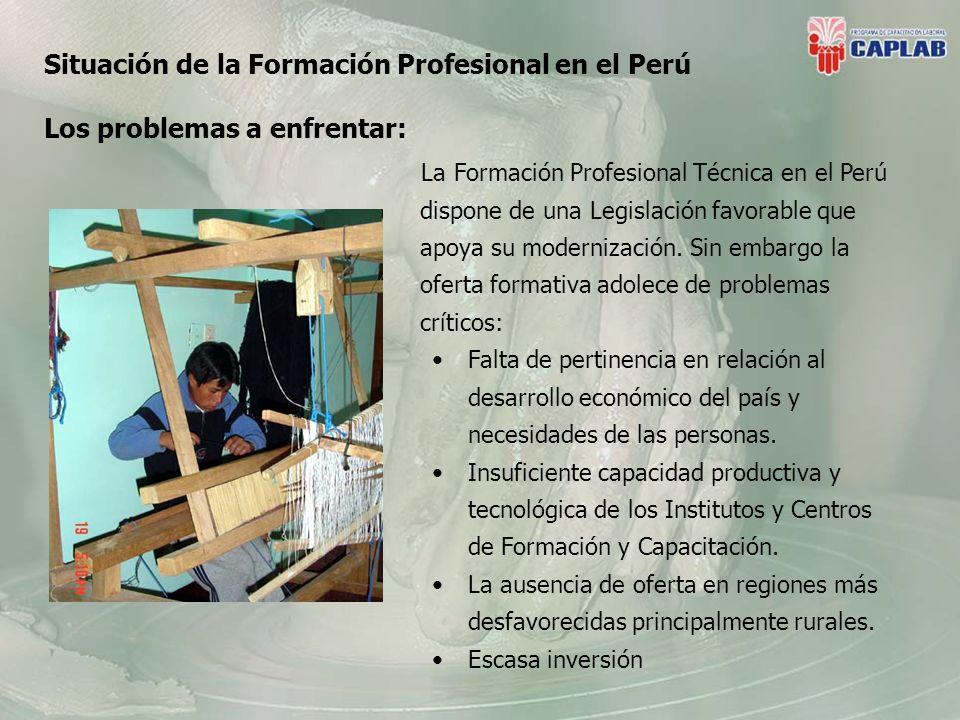 La Formación Profesional Técnica en el Perú dispone de una Legislación favorable que apoya su modernización.