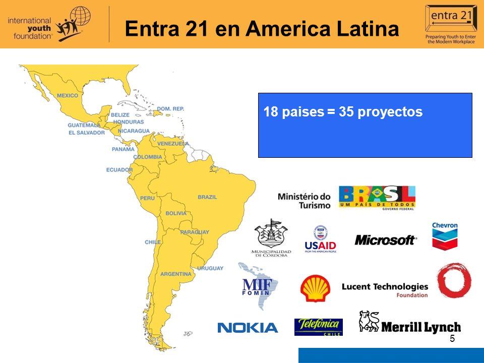 5 Latin America & Caribbean 18 paises = 35 proyectos Entra 21 en America Latina