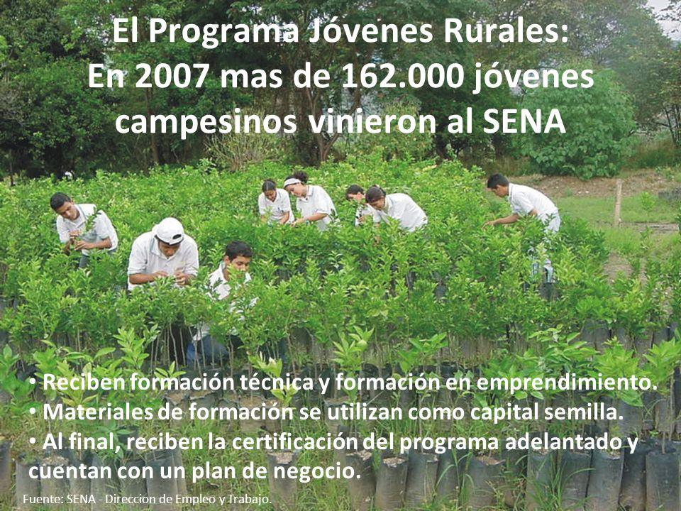 República de Colombia El Programa Jóvenes Rurales: En 2007 mas de 162.000 jóvenes campesinos vinieron al SENA Reciben formación técnica y formación en