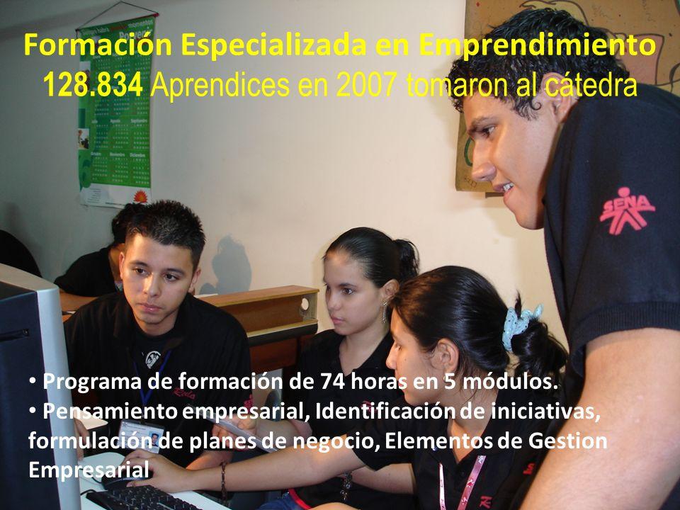 República de Colombia Formación Especializada en Emprendimiento 128.834 Aprendices en 2007 tomaron al cátedra Programa de formación de 74 horas en 5 m