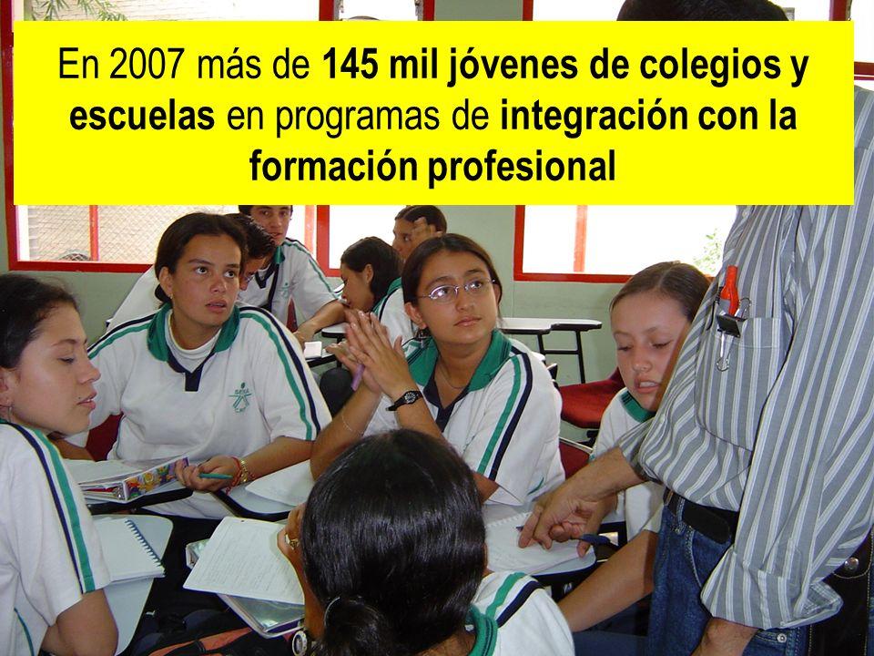 República de Colombia En 2007 más de 145 mil jóvenes de colegios y escuelas en programas de integración con la formación profesional