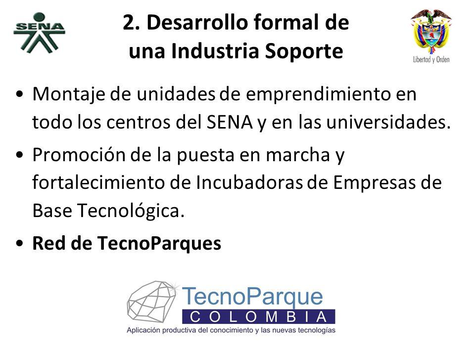 República de Colombia 2. Desarrollo formal de una Industria Soporte Montaje de unidades de emprendimiento en todo los centros del SENA y en las univer