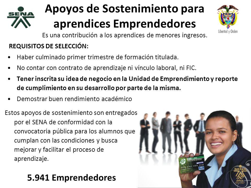 República de Colombia Apoyos de Sostenimiento para aprendices Emprendedores Es una contribución a los aprendices de menores ingresos. REQUISITOS DE SE