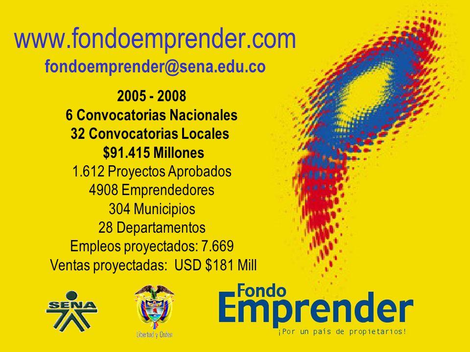 República de Colombia www.fondoemprender.com fondoemprender@sena.edu.co 2005 - 2008 6 Convocatorias Nacionales 32 Convocatorias Locales $91.415 Millon