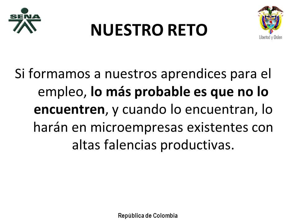 República de Colombia NUESTRO RETO Si formamos a nuestros aprendices para el empleo, lo más probable es que no lo encuentren, y cuando lo encuentran,