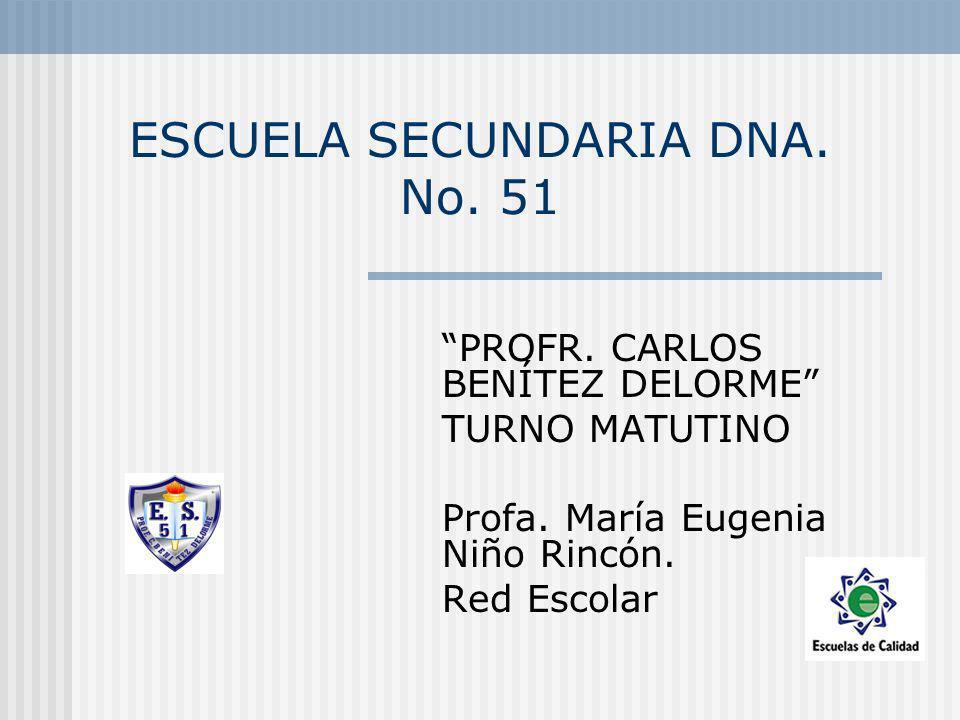 ESCUELA SECUNDARIA DNA. No. 51 PROFR. CARLOS BENÍTEZ DELORME TURNO MATUTINO Profa. María Eugenia Niño Rincón. Red Escolar