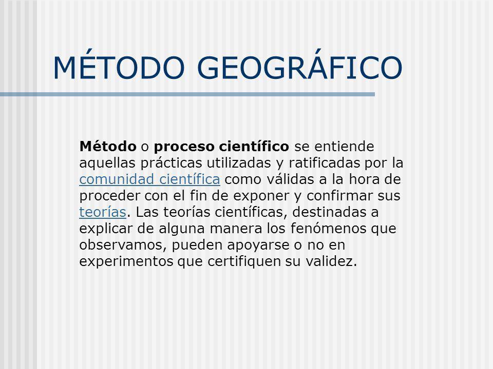 MÉTODO GEOGRÁFICO Método o proceso científico se entiende aquellas prácticas utilizadas y ratificadas por la comunidad científica como válidas a la ho