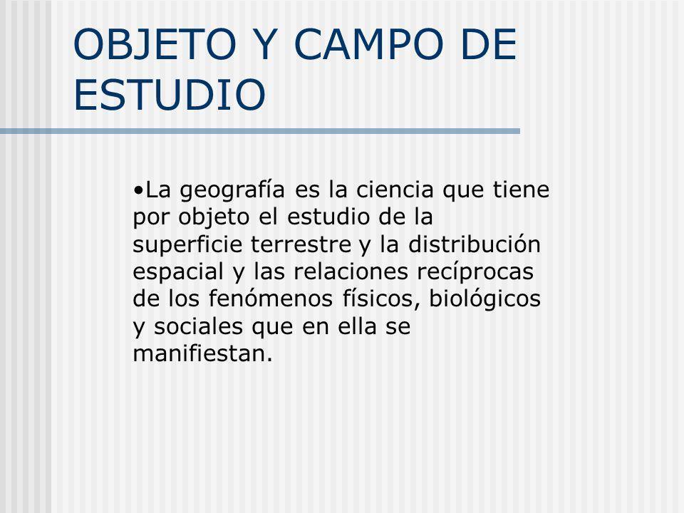 OBJETO Y CAMPO DE ESTUDIO La geografía es la ciencia que tiene por objeto el estudio de la superficie terrestre y la distribución espacial y las relac